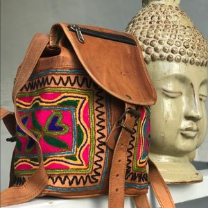 Boho Embroidered Tan Camel Leather Mini Backpack